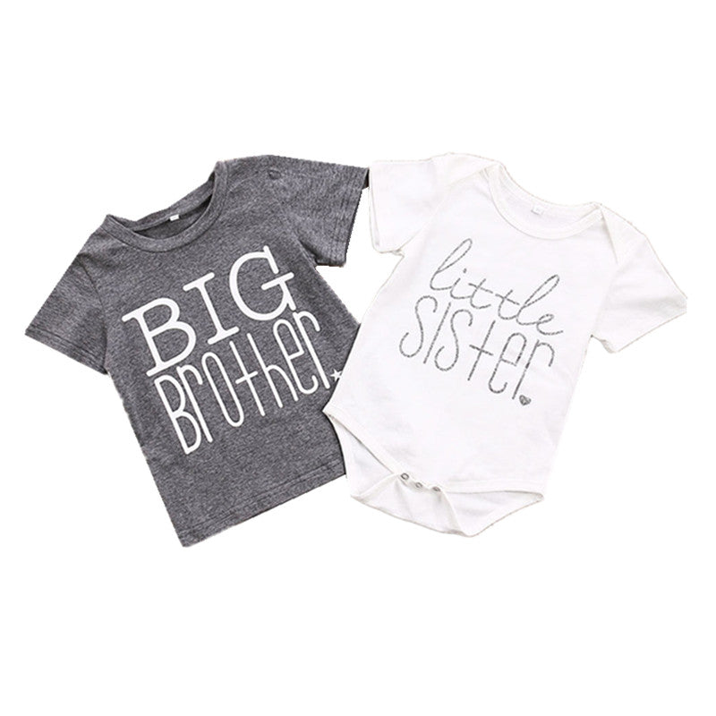 Family Matching Boys Girls Brother Sister Baby Toddler Cotton 0-24M Bodysuit 2-6T Tops T-shirt