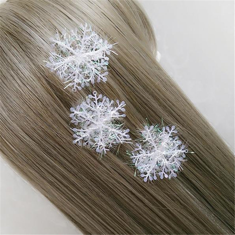 Plastic Hair Clips Barrettes Christmas Snowflake White Fashion New Woman Girl