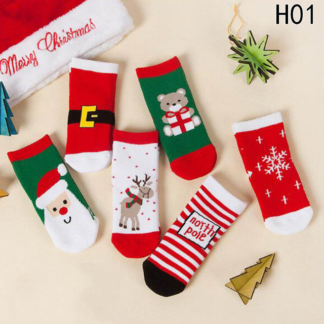 Christmas Themed Children Pure Cotton Cartoon Jacquard Kids Unisex Socks