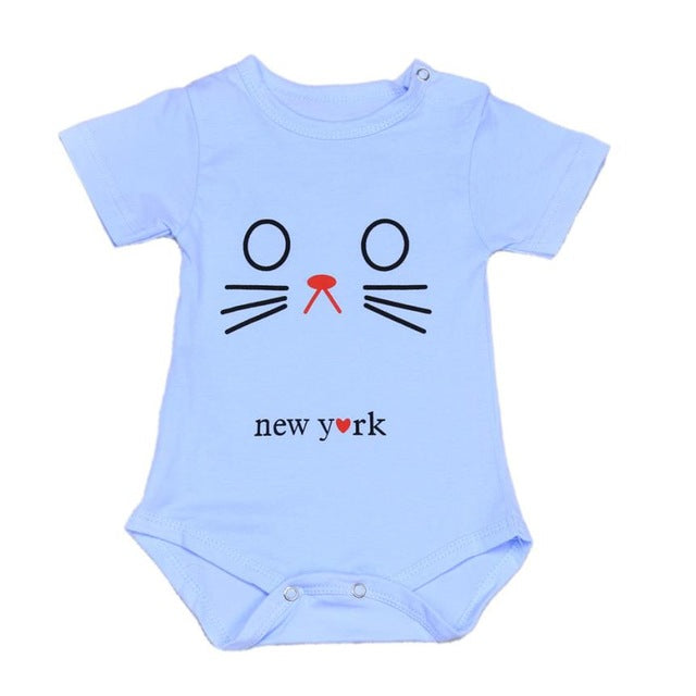 10fb0cc1d Newborn Unisex Baby Cute Cat Short Sleeve Onesie Romper Outfit twins ...
