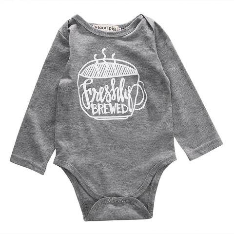 Newborn Toddler Infant Kids Baby Girl Boy Coffee Cup Long Sleeve Bodysuit Jumpsuit Casual Outfits