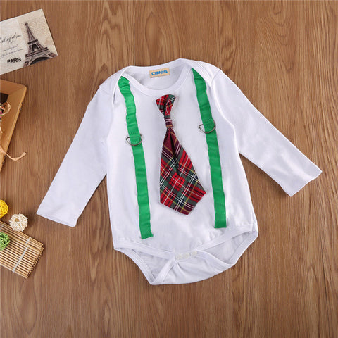 Kids Baby Boys Girls Clothes Cotton Long Sleeve Tie Plaid Romper Jumpsuit Baby Clothing 0-2T