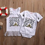 Family Matching Sister Clothes Toddler Romper Baby Bodysuit Kids Girl Tops Dress