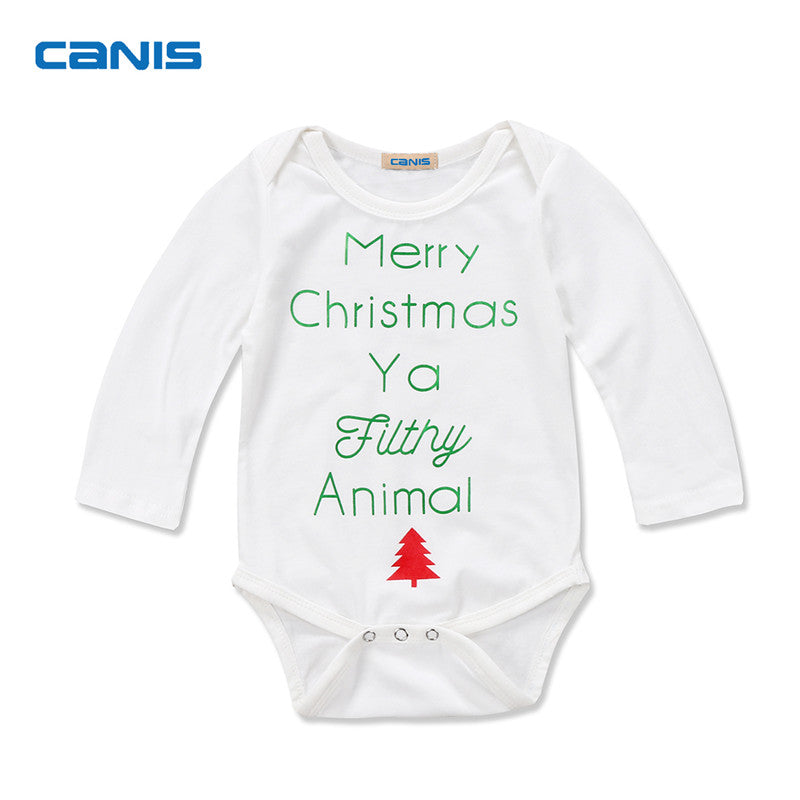 Newborn Baby Boy Girls Clothes Christmas Long Sleeve Romper Jumpsuit Outfit Baby Clothing 0-2T