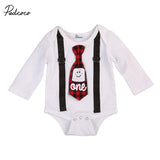 Plaid Tie Suspender Onesie