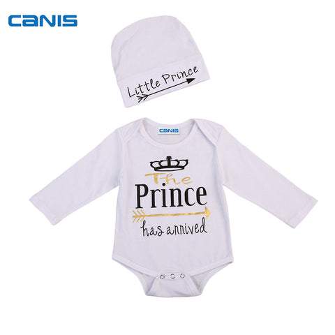 Newborn Toddler Infant Baby Boy Prince Bodysuit Long Sleeve Jumpsuit Clothes Hat 0-24M