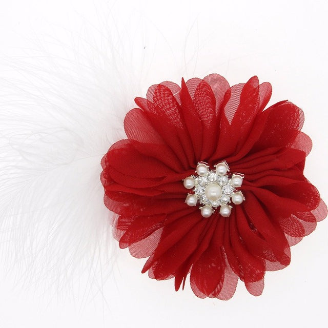Christmas Stretch Headband Hoop Handmade Flower Drilling Red Headband
