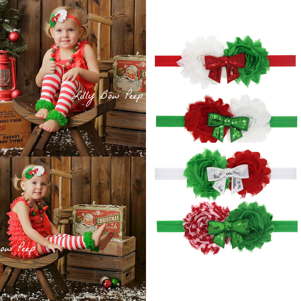New Year girl headband Christmas headband beautiful flowers to wear bow hair accessories for girls