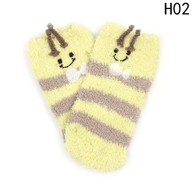 Warm Boys Girls Short Sock Colorful Infant Socks Kids Floor Coral Velvet Family Socks Christmas