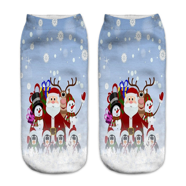 Children Cartoon Christmas Gift Socks 3D Printing New Year Kids Cute Santa Claus Snowman