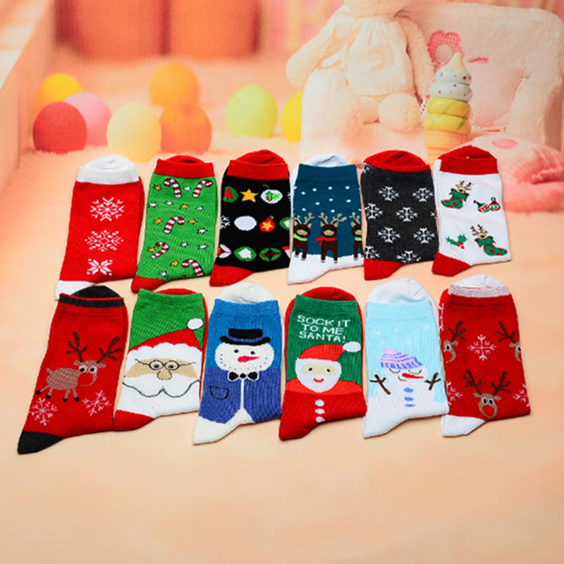 Children's Christmas Element Socks Cartoon Character Four Seasons Cotton Sock Variety Pattern