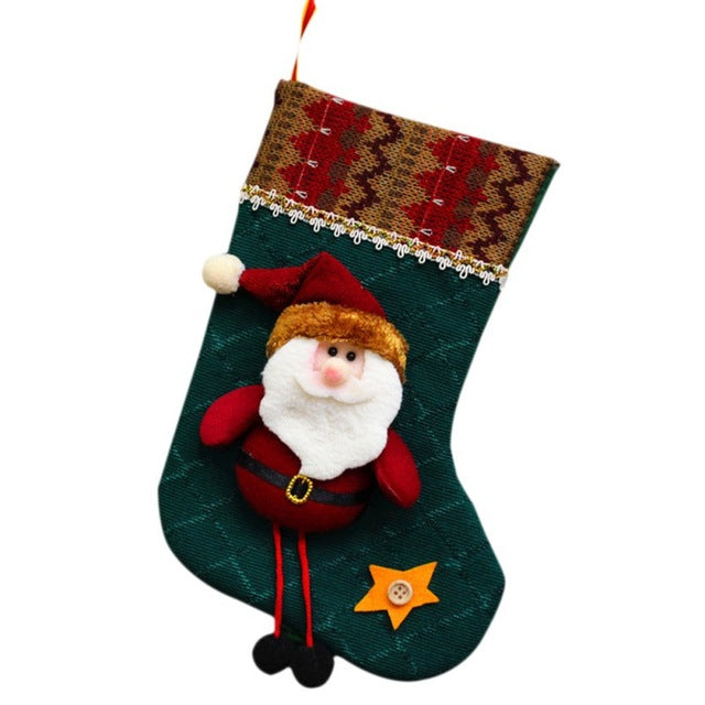 Christmas Socks Santa Claus Christmas Hanger Xmas Ornaments Plush Candy Gift Bags 2019 New