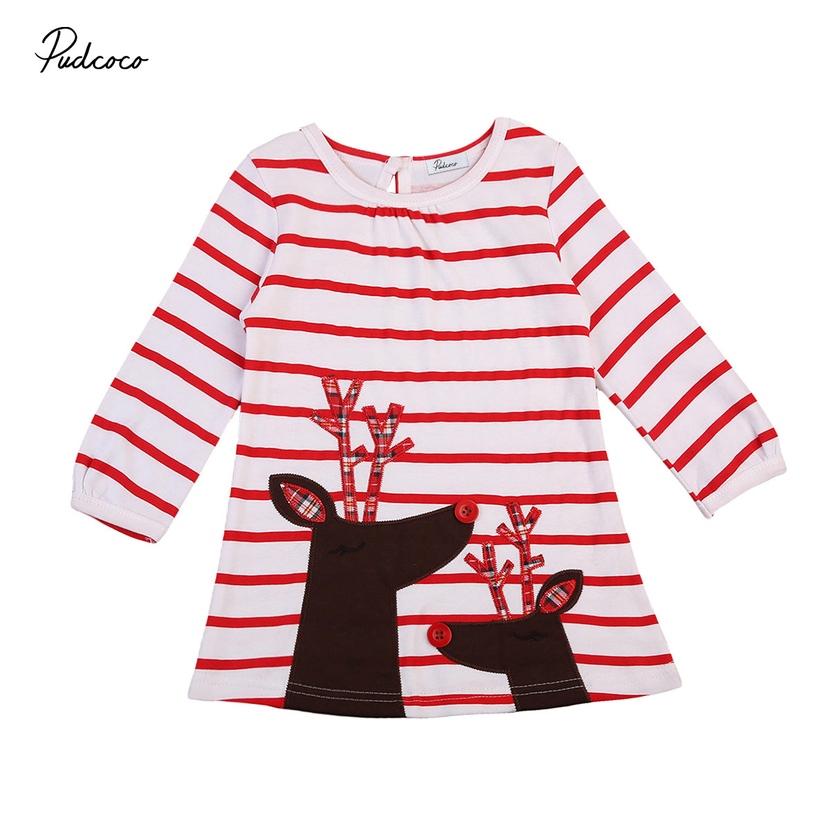 Newest Baby Girls Christmas Xmas Reindeer Little Girls Cute Long Sleeve Striped Dress One Piece