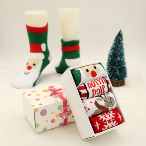 4 Pair Baby Child Boys Girls Kids Christmas Socks Cotton Blend Xmas Fashion Funny Socks christmas