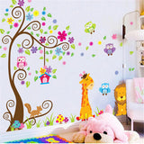 Owl Lions Tree Wall Stickers Removable Wallpaper Cartoon Children Rooms Decor