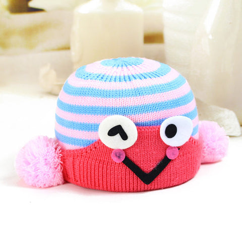 Frog striped winter wool hat for baby boys and girls