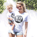 Cotton Family Matching Short sleeve T shirts top Kids Baby Girls Women Mom Daughter Best Friend Letter T Shirts Clothes Tee Tops