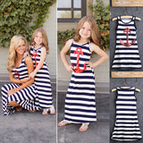 New 2016 Fashion Family Pack Set Mom And Girl Cotton Dress Clothes Mother and Child Matching Striped Dress