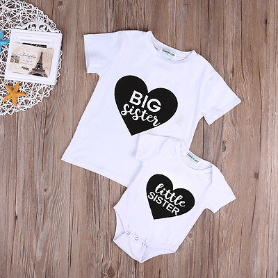 Toddler Kids Girls Big/Little Sister Clothes Romper Outfit Bodysuit T-shirt Tops