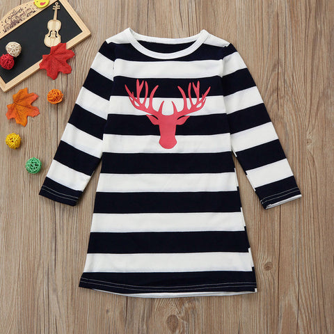 Mom&Me Girls Women Dress Deer Long Sleeve Stripe Dress Family Outfits Clothes