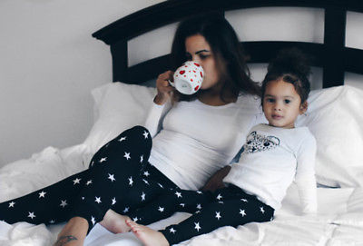 Mother Daughter Long Pants Mom Girls Baby Stretchy Pants Family Matching Leggings Trousers Stars Print Pants Outfits