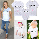 Famliy Matching Newborn Infant Kids Baby Girl Romper Eyelashes lips T Shirts Jumpsuit Bodysuit Clothes Outfits