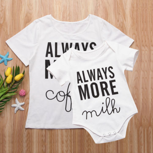 Mum Clothing Tops T-Shirts Baby Bodysuits Baby Short Sleeve Tops Bodysuit Letter Short Sleeve Cotton Tops