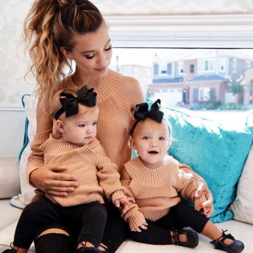 Family Matching Women Girl Mom Baby Long Sleeve Pullover Cold Shoulder Sweater Jumper Tops Autumn Winter Casual Clothing