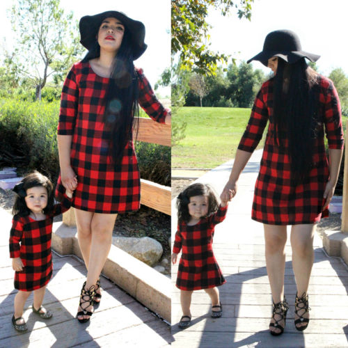 Mom Girl Family Matching Mini Dresses Costume Women Mother Kid Baby Girl Boho Dress Outfit Clothing Set