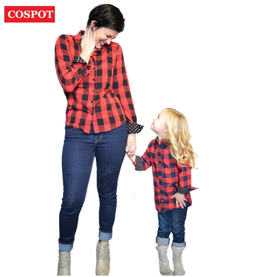 COSPOT Mom and Daughter Christmas Shirt Mother and Girl Cotton Red Plaid Matching Blouse Family Fashion Christmas Shirt 2019 25D