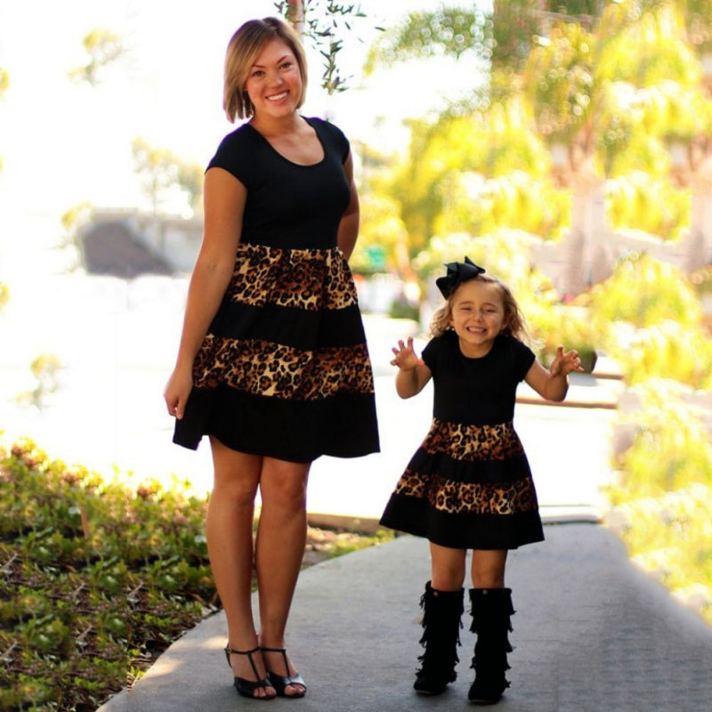 Leopard Fashion Mommy And Girls Family Matching Outfits Mother And Daughter Clothes Mom Daughter dresses