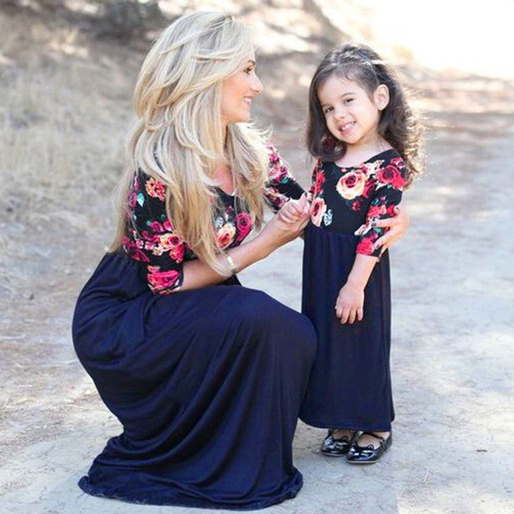 Girls Daughter Matching Floral Mom Kids Half Sleeve Maxi Long Dress