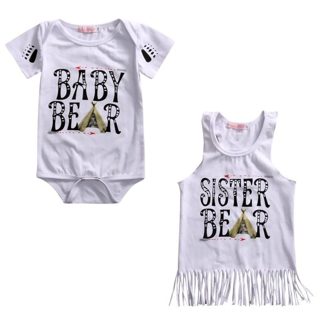 Summer Outfits Infant Baby Girl Bodysuits Top Kids Girls Tassel T-shirt Clothes Children Clothing Summer Costume