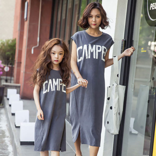 Fashion Women Mom Kids Girls Letters Pattern Matching Dress Casual Cotton Pullover Skirt