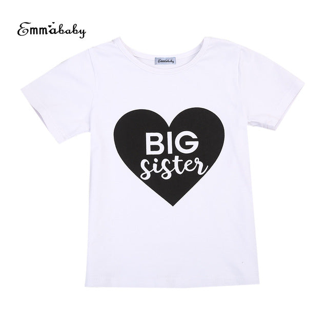 Sister Matching Clothes Littler/Big Sister Cotton Short Sleeve Letter T-Shirt/Bodysuits