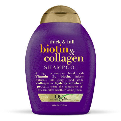 OGX Organix Biotin Shampoo helps to moisturise and strengthen your hair, promoting growth and thickness during the menopause.