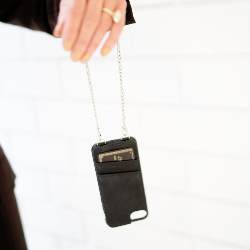 Lovely Crossbody / Wrist Chain Phone Case- and RFID Wallet- For A Safe Distance From Your Cellphone!