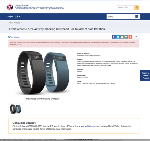 fitbit recall consumer protection agency