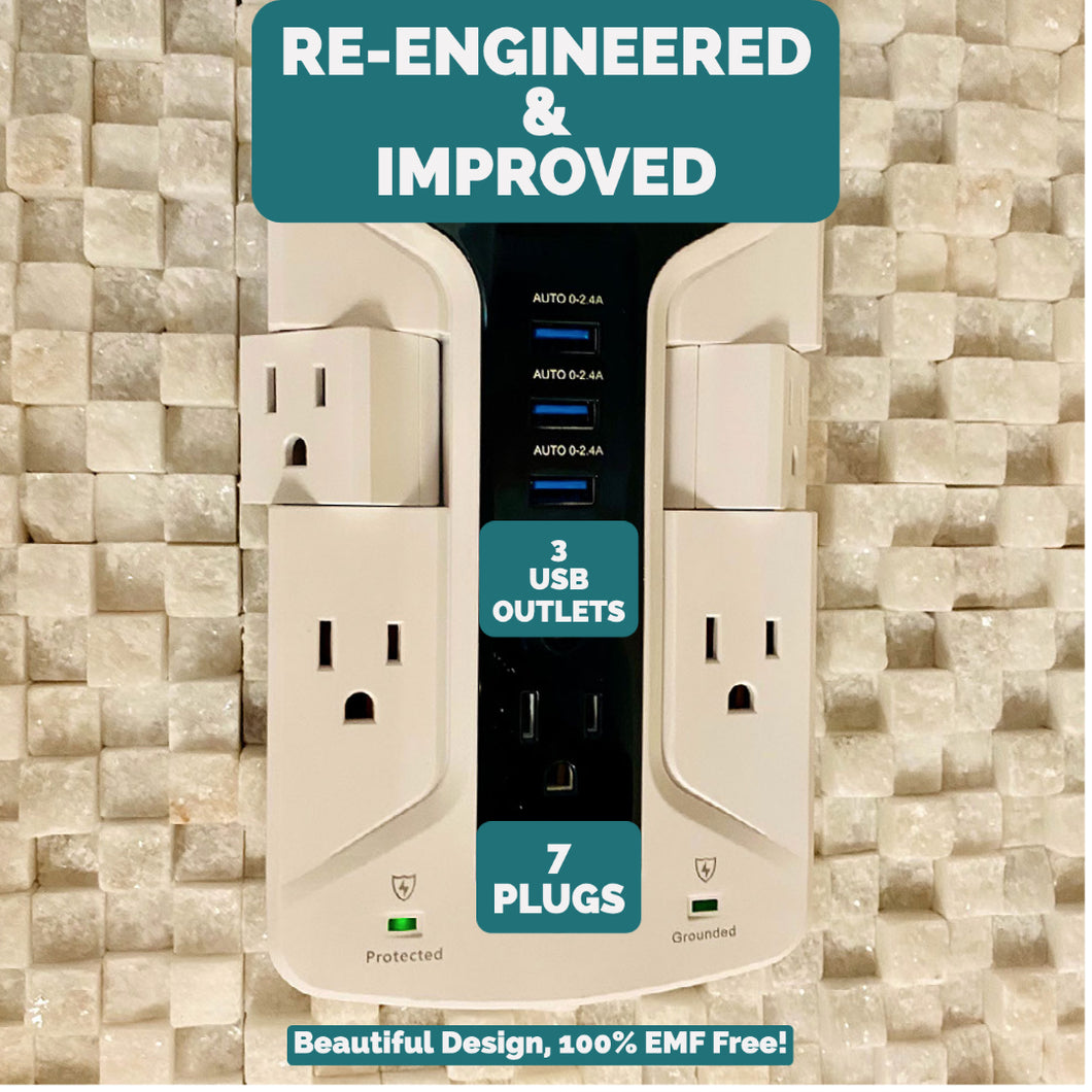 Plug In And Charge! 7 Outlet Grounded Power Strip, Surge Protector, Plus Grounded EMF Free Charging Station in ONE
