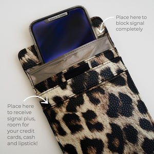 A Digital Wellbeing Must Have! A Faraday Bag That Works: Beautiful Privacy + EMF Protection Cellphone Case Laptop too! Body Tech Wellness Medium LEOPARD VEGAN LEATHER Faraday for Phone: Fits Most iPhones 19 x 11.5 cm, 7.48 x 4.52 inches