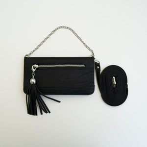 Lovely Android or Google Crossbody or Wrist-Chain Phone Case Satchel Tech Wellness Black Case With Black Tassel