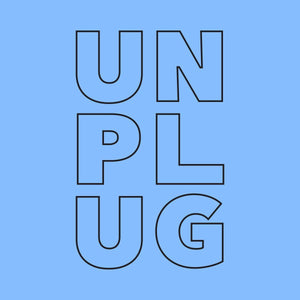 Men's Unplug Graphic Blue Tee Wellness Wear Tech Wellness