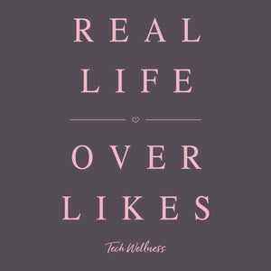 Real Life Over Likes Flowy Tee donates to Sit With Us Wellness Wear Tech Wellness