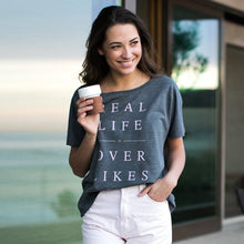 Real Life Over Likes Flowy Tee donates to Sit With Us Wellness Wear Tech Wellness Small