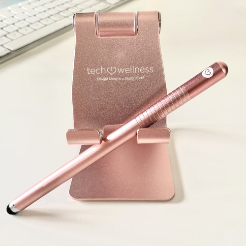 The Tech Wellness Touchless Smartphone System - Stylus & Tech Stand! Radiation Tech Wellness Rose Gold