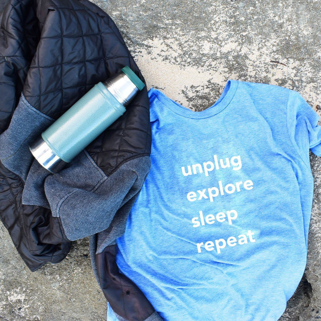 Unplug Explore Sleep Repeat Men's and Todlers Tee Wellness Wear Tech Wellness