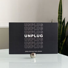 Unplug•Intention Cards • Gentle Reminders To Live In Balance With Technology Tech Wellness Modern Mindfulness Black & White Set with Silver Stand
