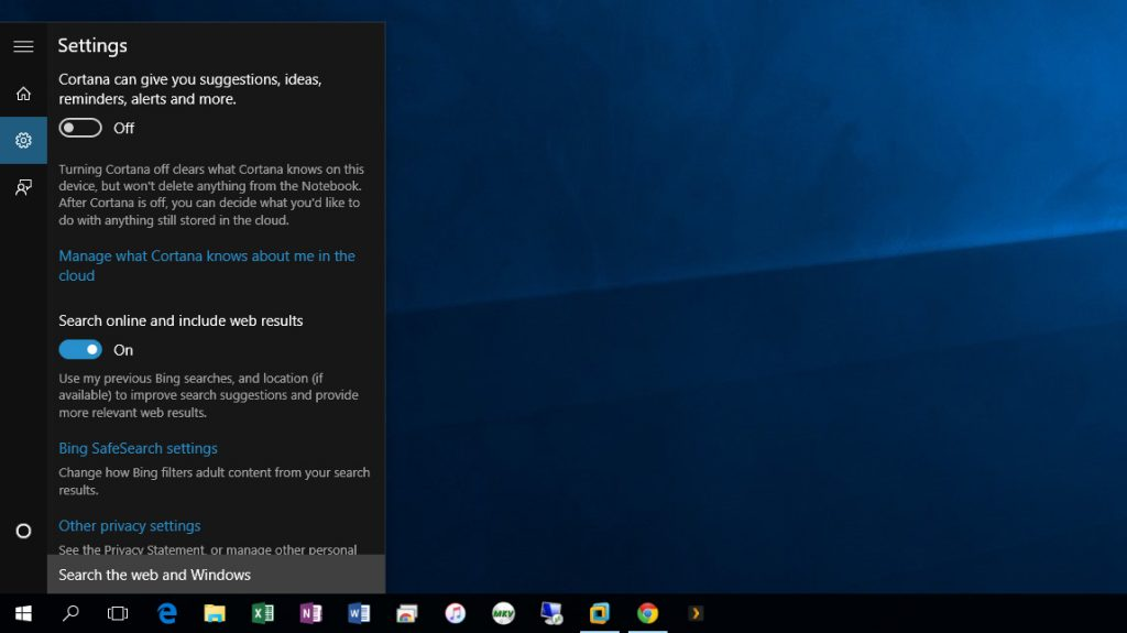 privacy setting cortana