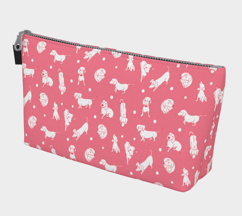 Coral Weens Cosmetic Case - Daring Dachshund