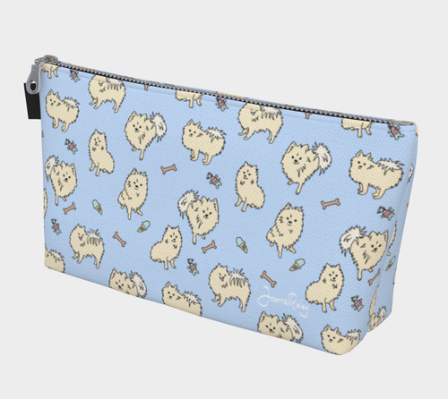 Pomtastic Travel Case -  pomeranians on a powder blue background.